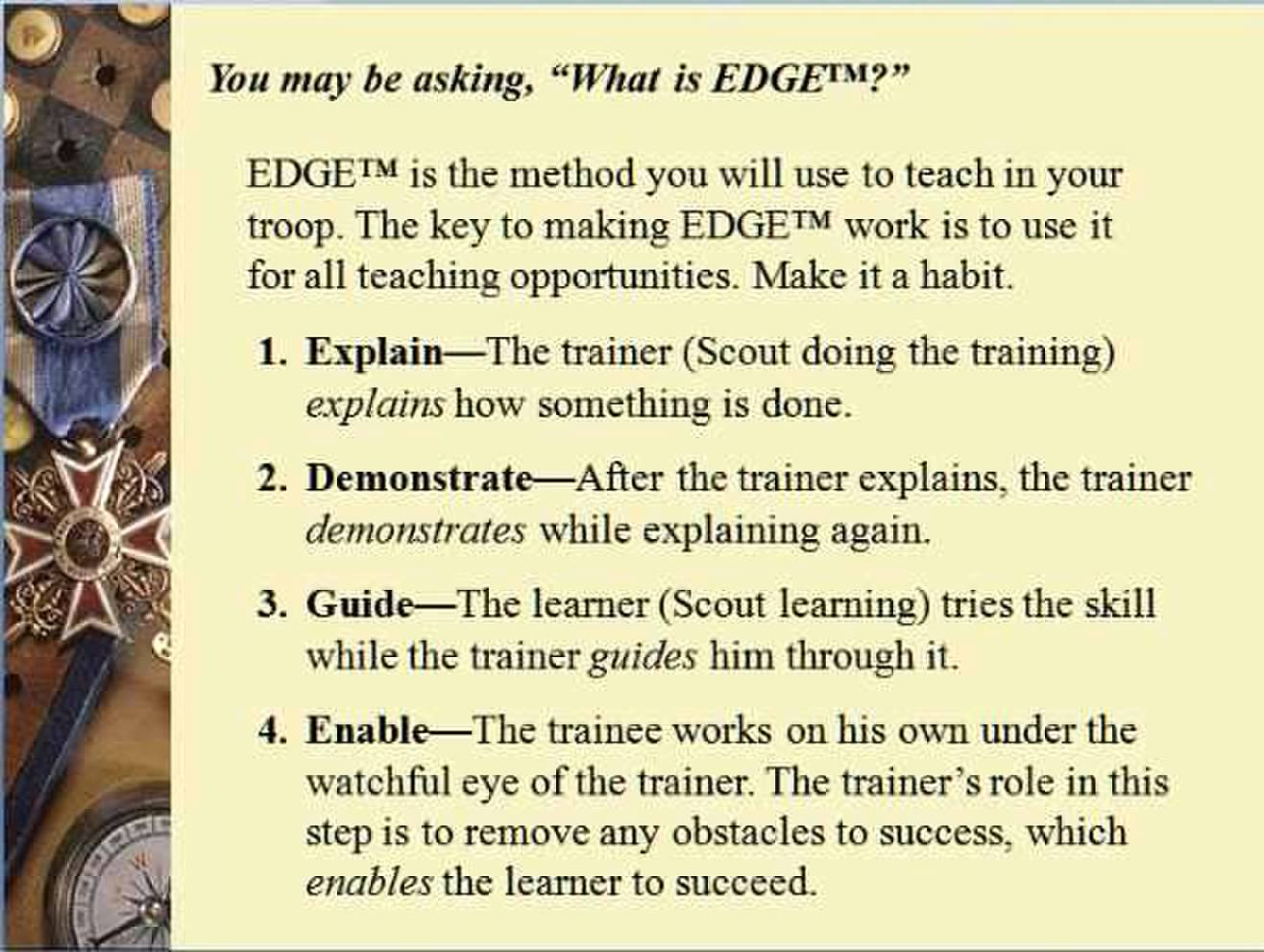 A description of the EDGE method in scouting.